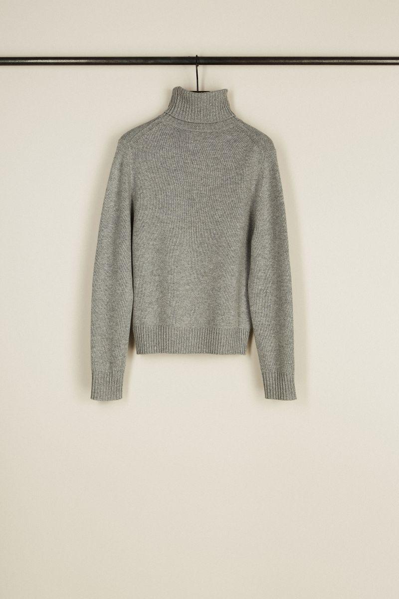 Cashmere-Woll-Rollkragenpullover Grau