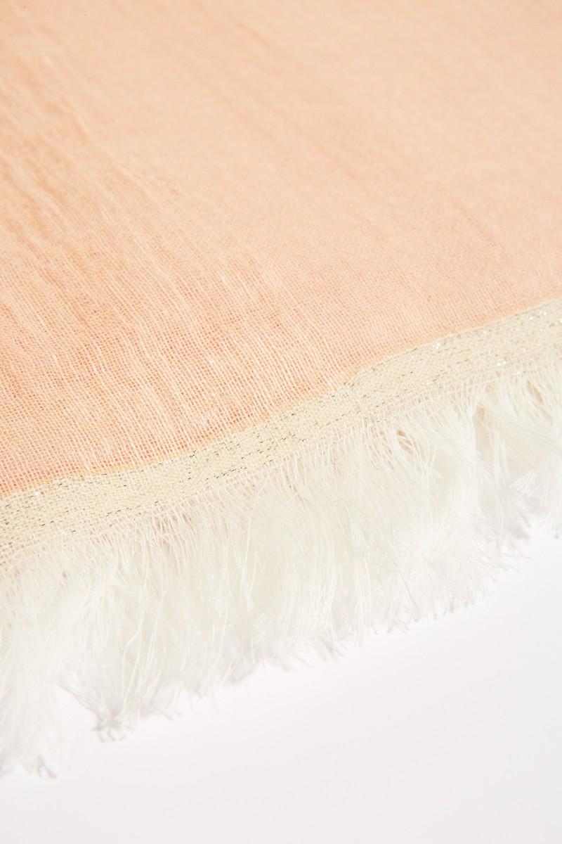 Leinen- Schal mit Lurexfäden Rosé/Crème