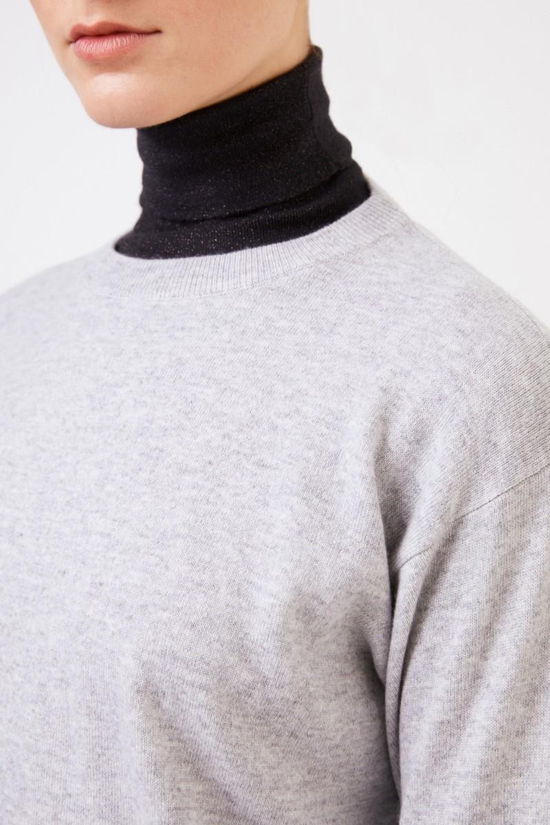 Brunello Cucinelli Klassischer Cashmere-Pullover Hellgrau