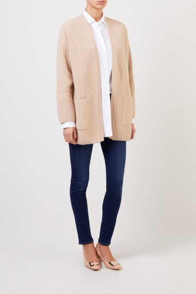 Allude Long cashmere cardigan Camel