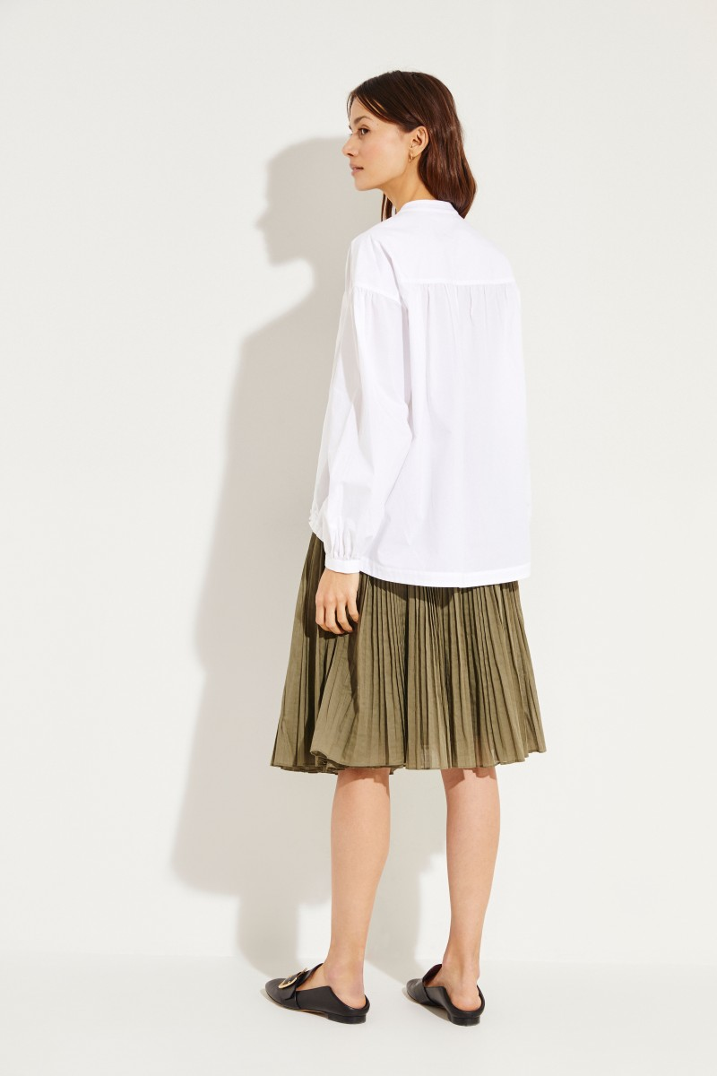 Oversize-Bluse mit Bindedetail Weiß