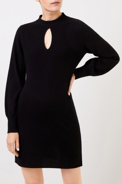 Allude Wool-Cashmere knitted dress with slit detail Black