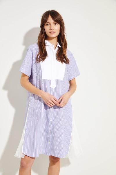 Gestreiftes Hemdblusenkleid mit Plissee-Details Blau/Multi
