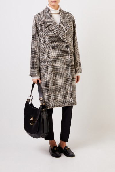Wool Coat with Glencheck Black/Beige