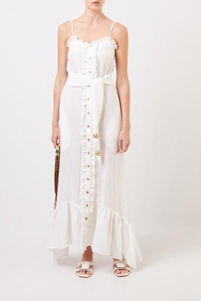 Long linen dress with belt Cream