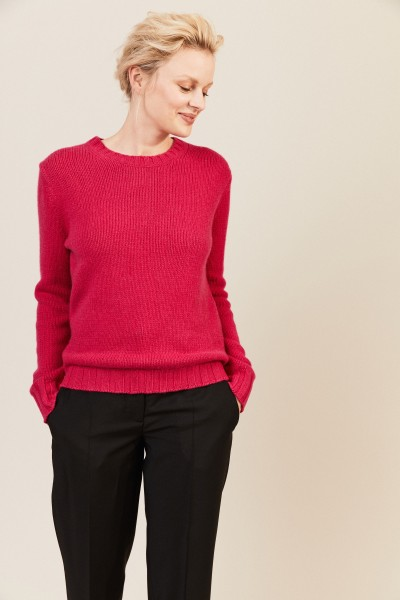 Rippstrick-Cashmere-Pullover Pink