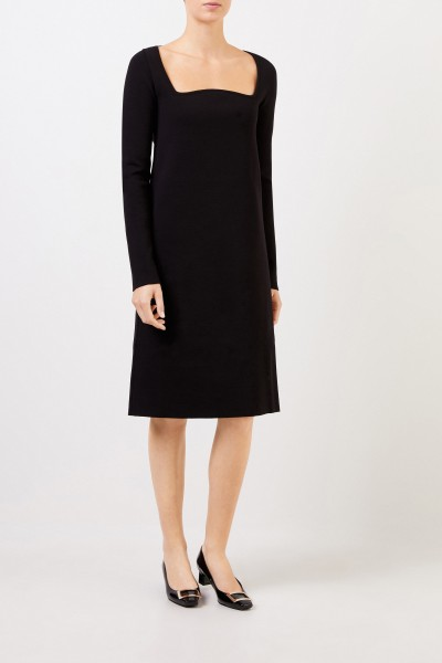 Bottega Veneta Wool dress with square neckline Black