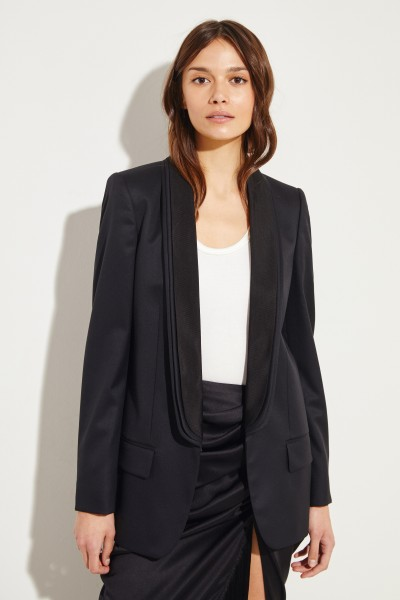 Wool blazer with turn down collar Black