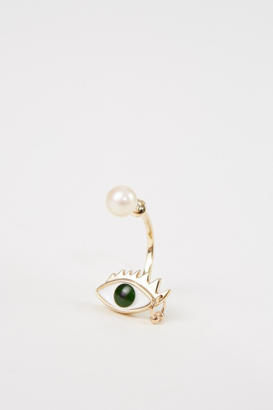 Delfina Delettrez Ohrring 'Eye Piercing' Gold/Grün