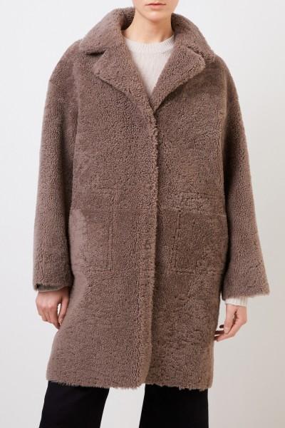 Benedetta Novi Reversible lambskin coat 'Mila Astracan' Brown