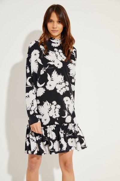 Seiden-Kleid 'Kochhar' mit Print Schwarz/Weiß