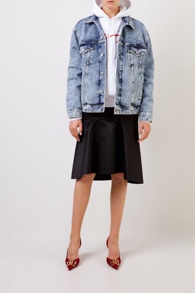 Oversize Jeansjacke mit Waschung Blau