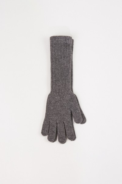 Uzwei Long wool cashmere gloves Grey