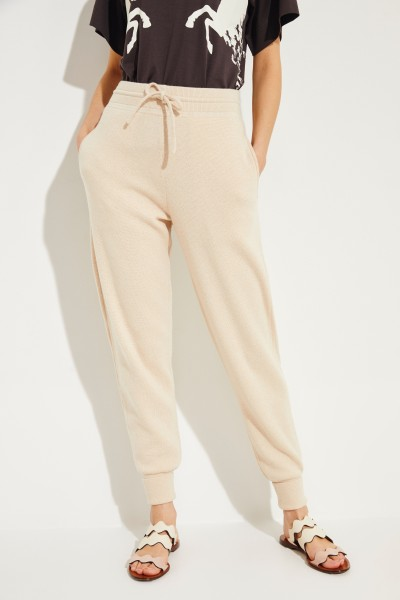 Wool pants with emblem Angora Beige