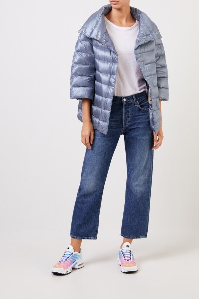 Down jacket with stand-up collar Light Blue