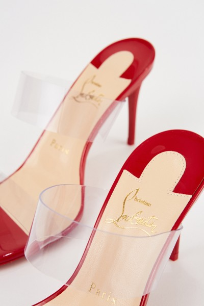 Christian Louboutin Mules 'Just Nothing 85 Patent' Rot/Transparent