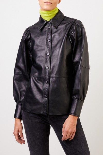 Ganni Leather Shirt with Balloon Puff Sleeve Black