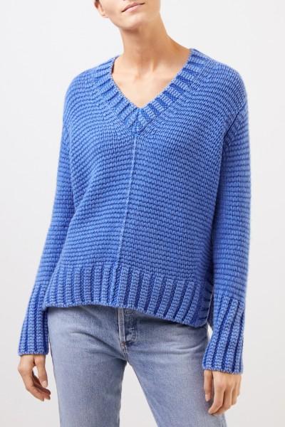 Iris von Arnim Cashmere sweater with V-neck 'Alexa' Blue
