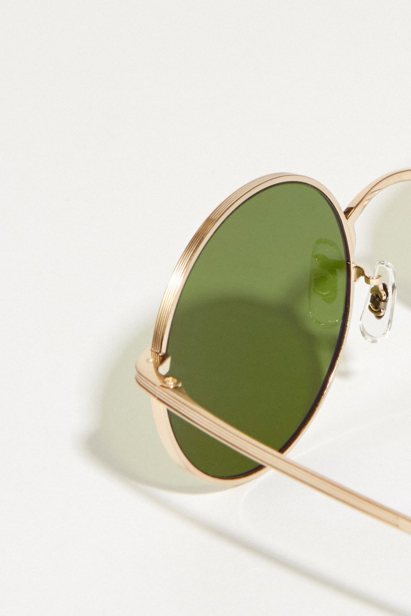 Oliver Peoples Runde Sonnenbrille 'After Midnight' in Hornoptik Gold/Grün