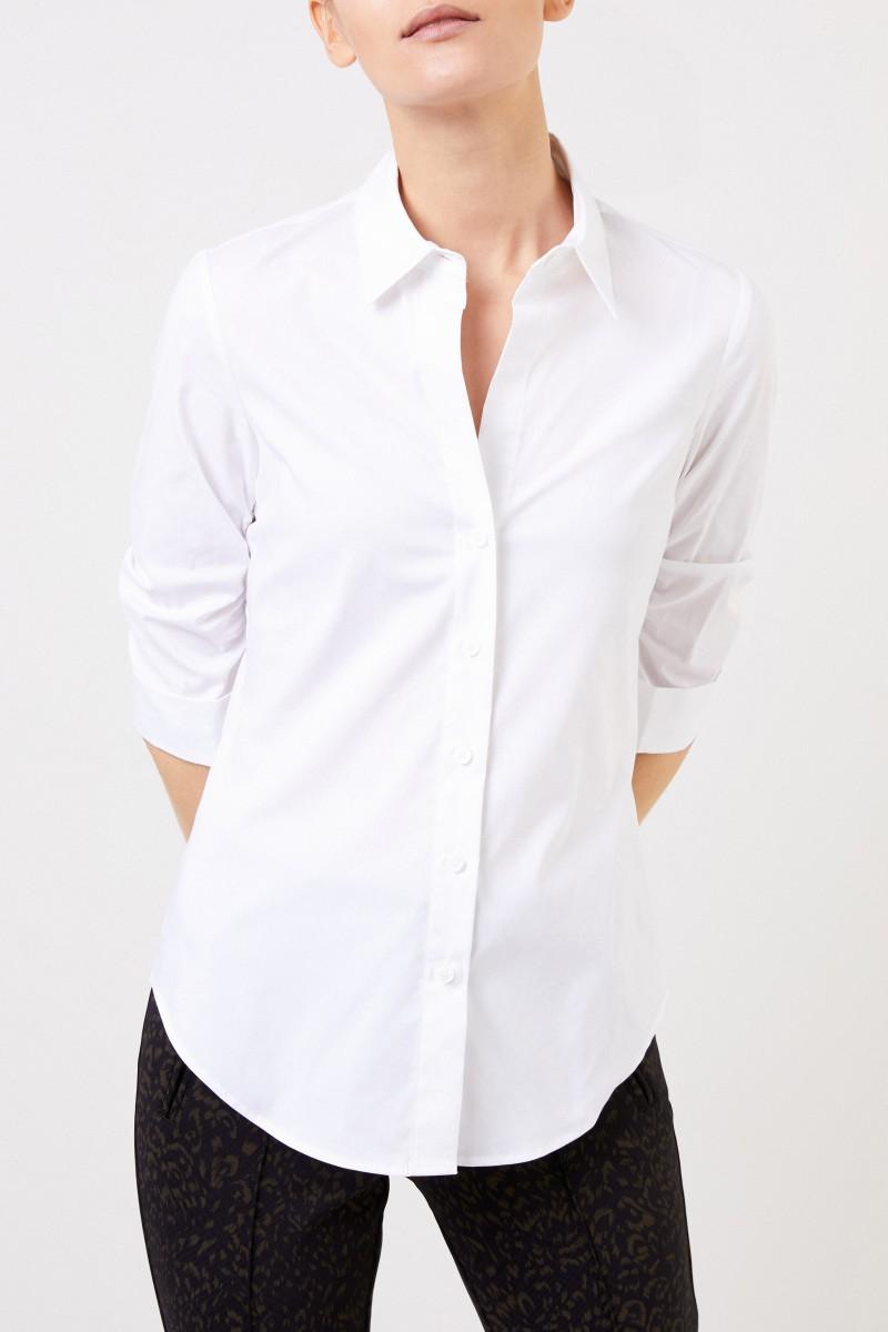 Steffen Schraut Klassische Baumwoll-Bluse mit Raffung Weiß