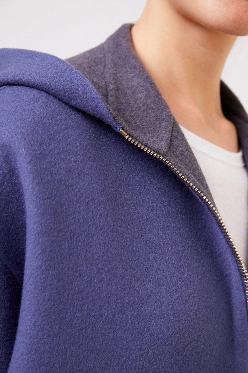 Colombo Wende-Cashmeremantel mit Kapuze Blau/Grau