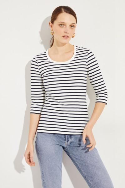 Gestreiftes Shirt mit 3/4-Ärmeln Marineblau/Weiß