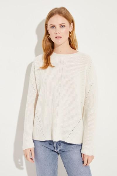 Woll-Cashmere-Pullover mit Lochmuster Crème