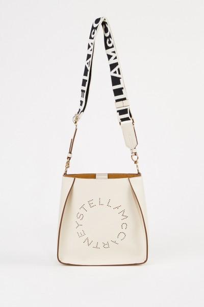 Mini shoulder bag with logo strap Cream