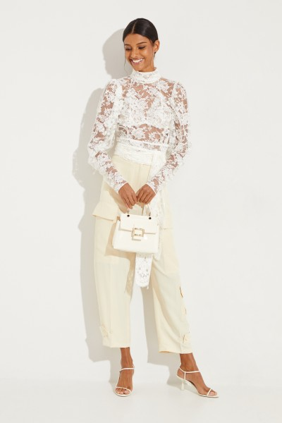 Magda Butrym Lace blouse 'Noto' with tie detail White