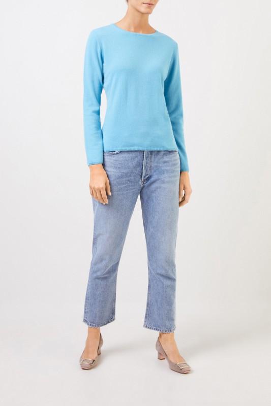 Cashmere-Pullover mit R-Neck Hellblau