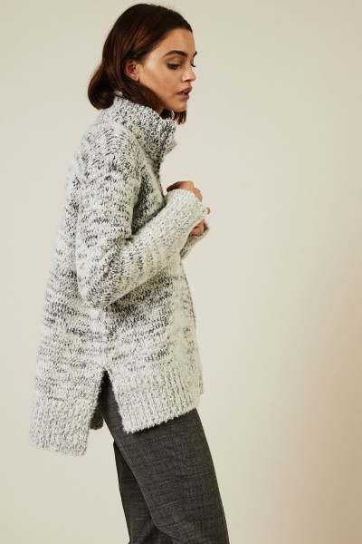 Woll-Seiden-Cardigan mit Reißverschlussdetails Grau