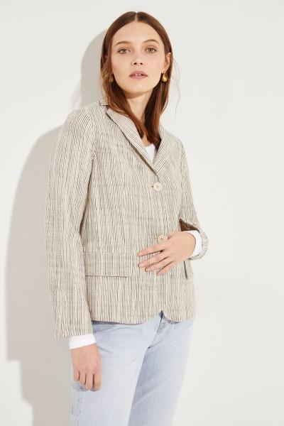Baumwoll-Blazer mit Streifen Beige/Schwarz