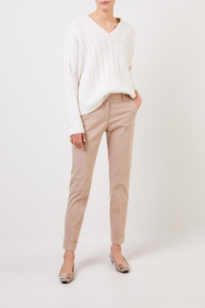Cotton trousers with folded hems Beige