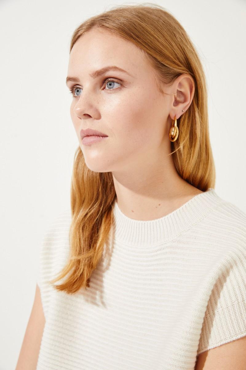 Kurzarm Woll-Cashmere-Pullover Crème