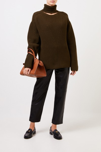 Cashmere turtleneck sweater with detail Khaki