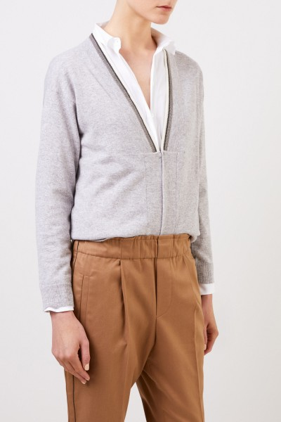 Brunello Cucinelli Cashmere cardigan with pearl decoration Light Grey