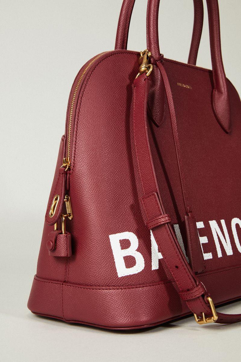 Handtasche 'Ligne Ville' mit Logo-Schriftzug Bordeaux
