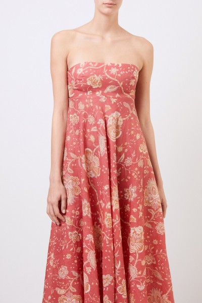 Zimmermann Midi-linen dress 'Veneto' with print Coral