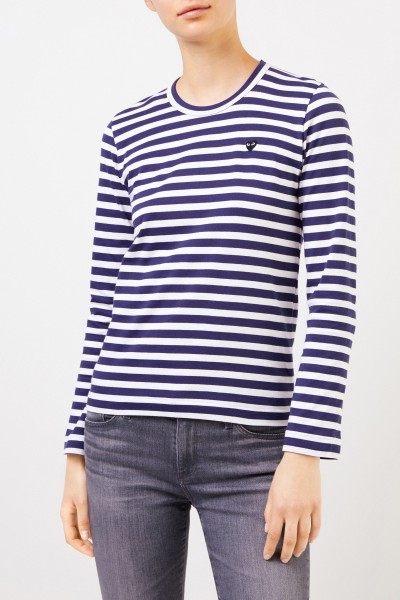 Comme des Garcons Play Striped longsleeve with heart logo Navy/White