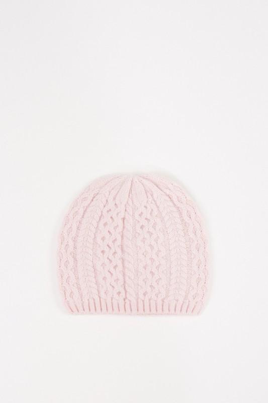 UZWEI Cashmere-Mütze mit Zopfmuster Rosé