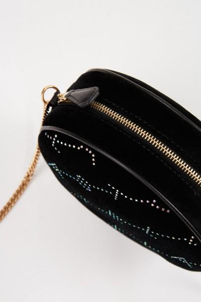 Stella McCartney Runde Samttasche 'Mini Round Bag' Schwarz