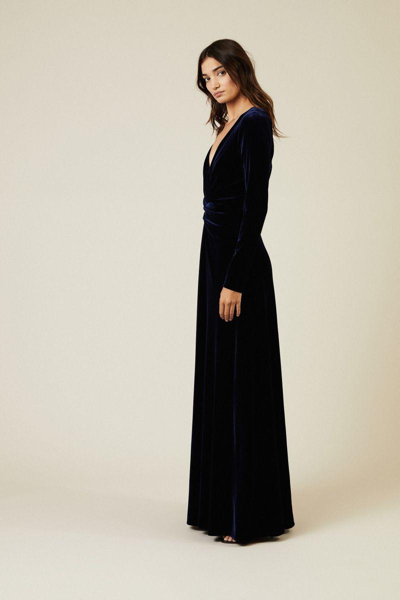 Abendkleid aus Samt 'Pokario7' Marineblau