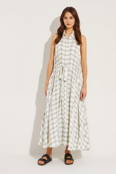 Langes Hemdblusenkleid mit Bindedetail Weiß/Grün