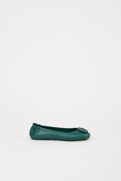 Tory Burch Leather Ballerina 'Minnie Travel Ballet' Green