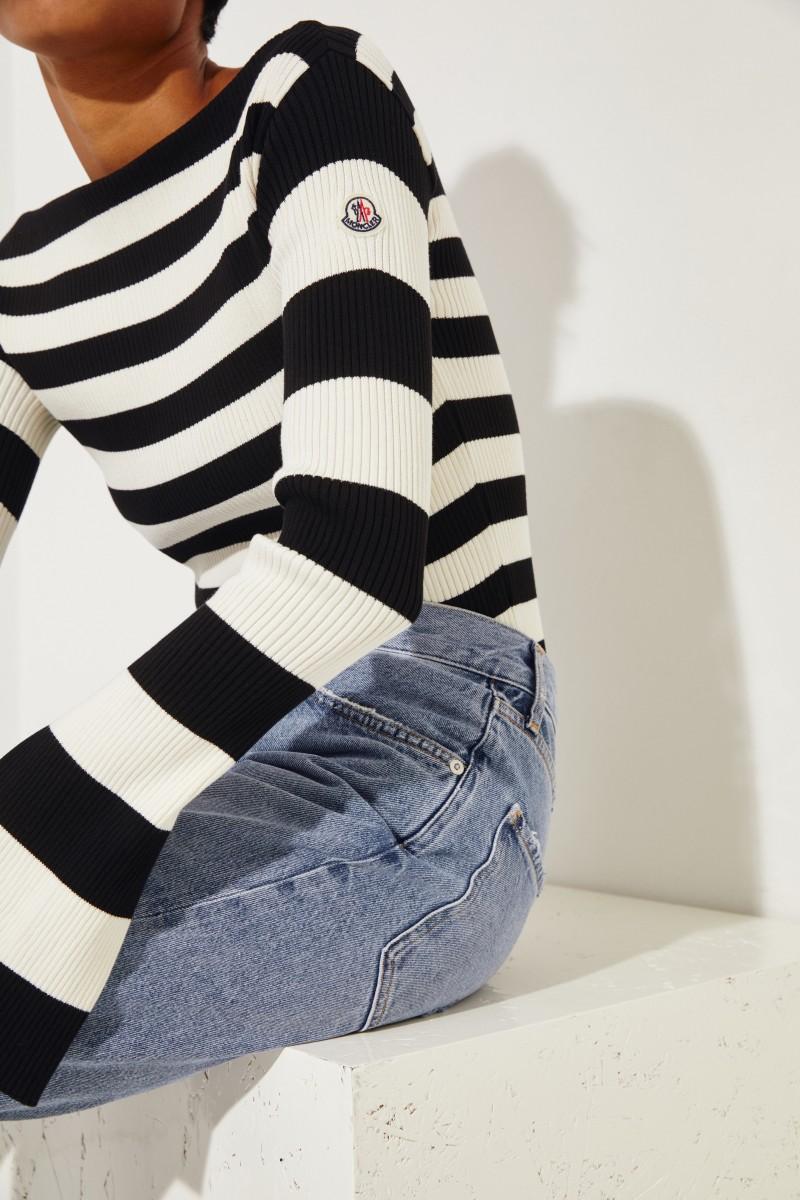 Gestreifter Rippstrick-Pullover Schwarz/Weiß