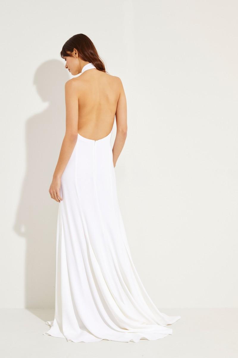 Langes Neckholder-Abendkleid Weiß