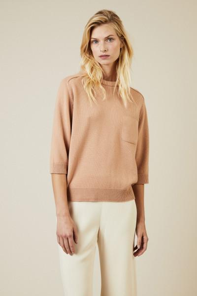 Cashmere Pullover mit aufgesetzter Brusttasche Altrosé
