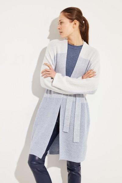 Cashmere-Leinen-Cardigan Blau/Weiß