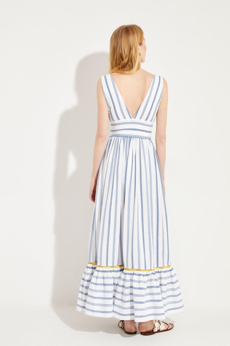 Langes Baumwoll-Kleid 'Valentina' Blau/Gelb