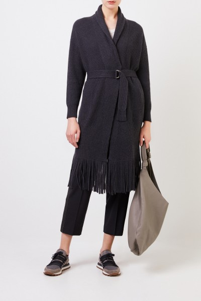 Long cashmere cardigan with belt Anthracite